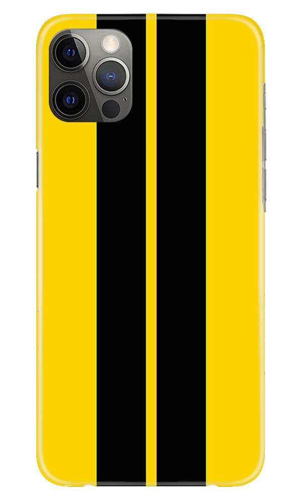 Black Yellow Pattern Mobile Back Case for iPhone 12 Pro Max (Design - 377)