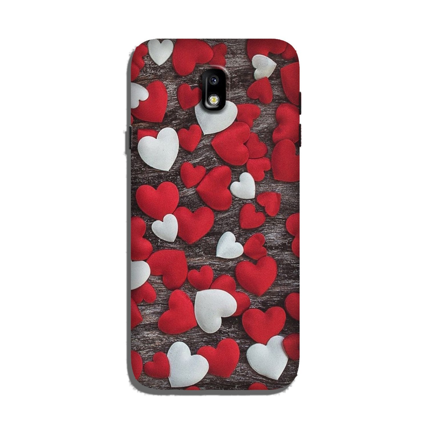 Red White Hearts Case for Galaxy J7 Pro  (Design - 105)
