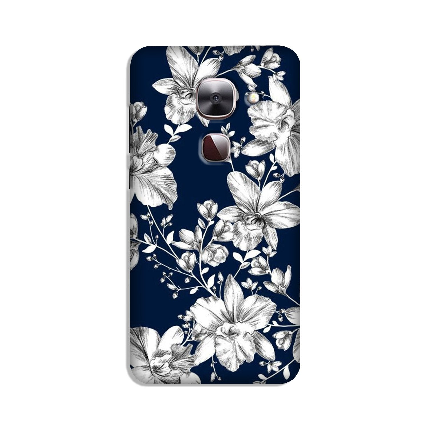White flowers Blue Background Case for LeEco le 2s