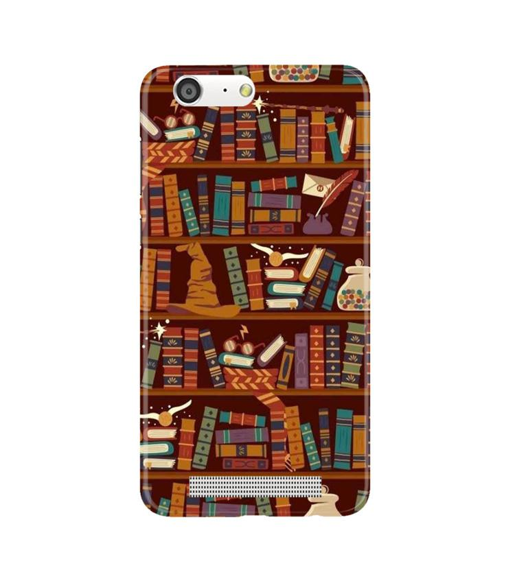 Book Shelf Mobile Back Case for Gionee M5 (Design - 390)