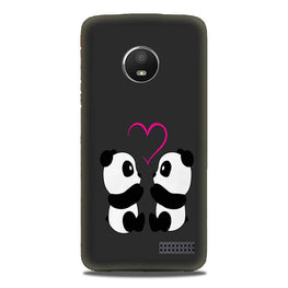 Panda Love Mobile Back Case for Moto E4 (Design - 398)