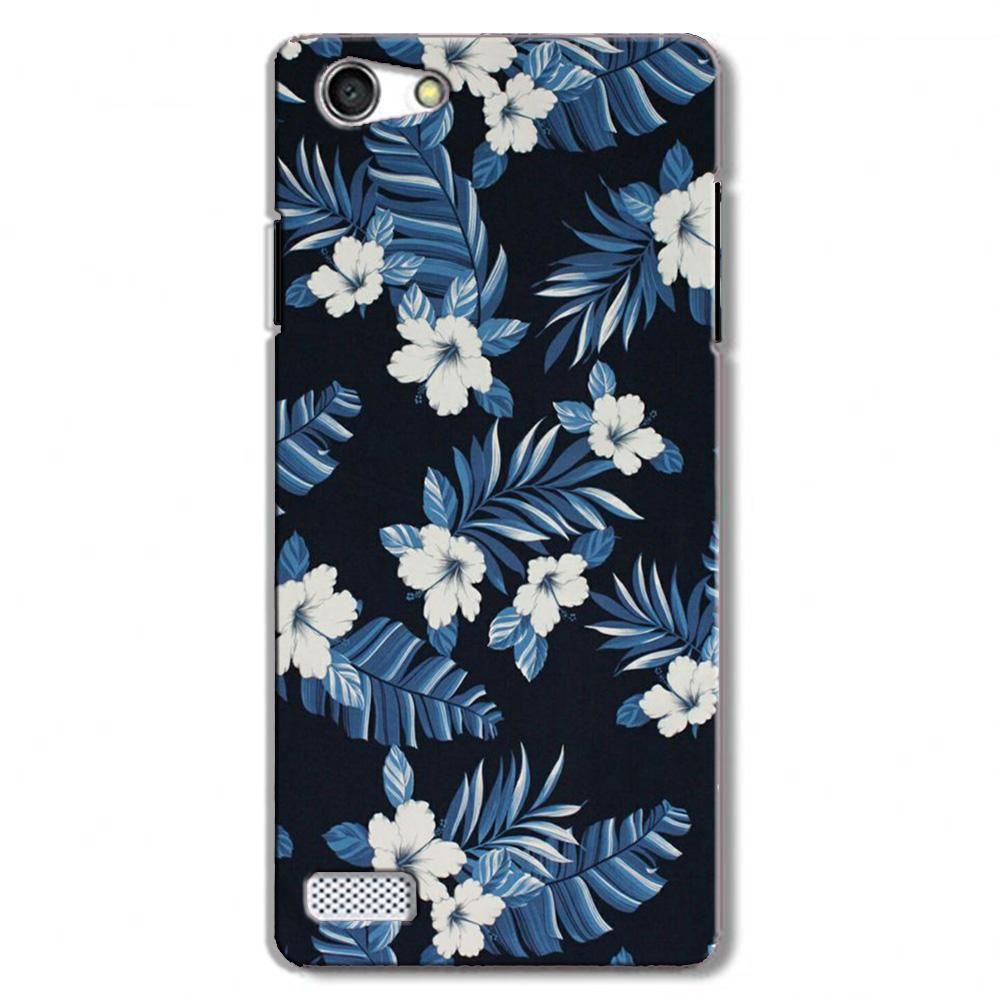 White flowers Blue Background2 Case for Oppo Neo 7