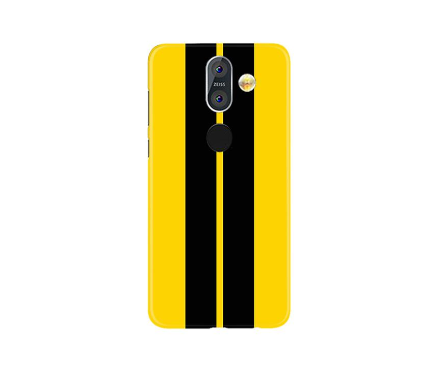 Black Yellow Pattern Mobile Back Case for Nokia 8.1 (Design - 377)