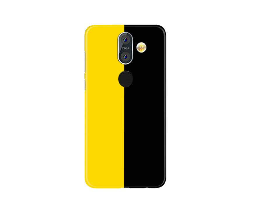Black Yellow Pattern Mobile Back Case for Nokia 8.1 (Design - 397)