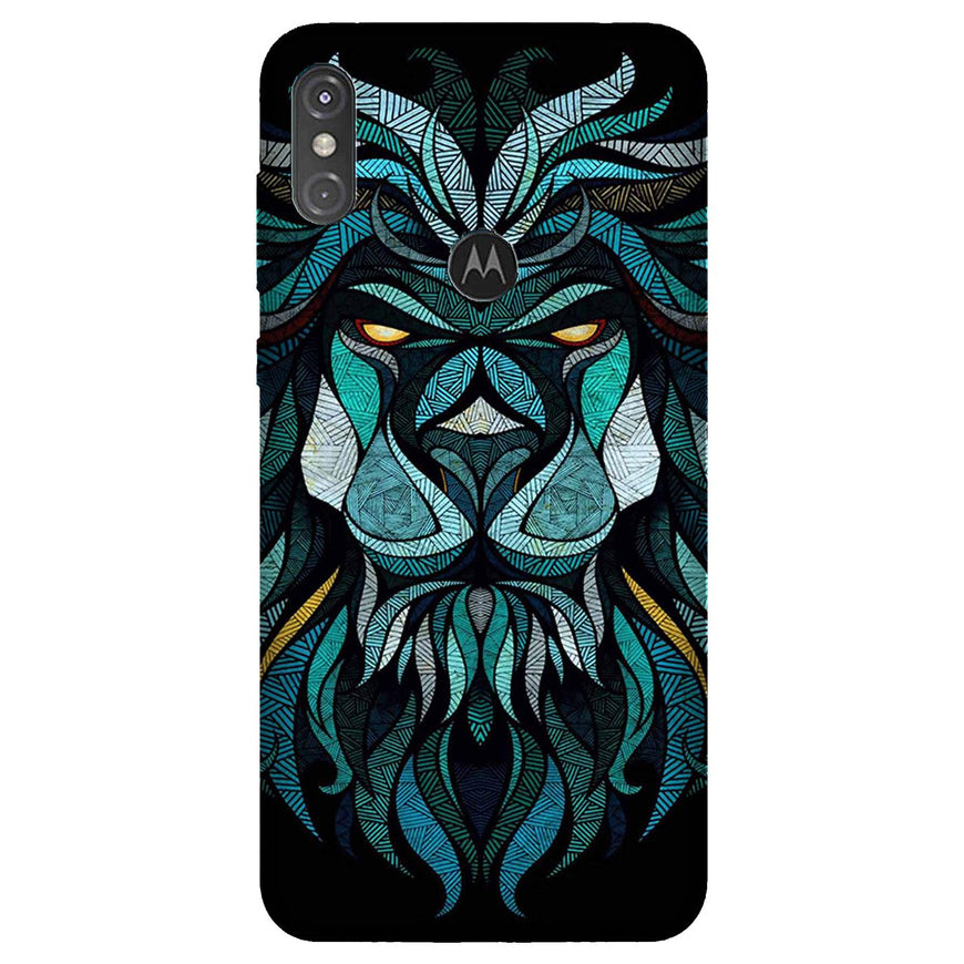 Lion Mobile Back Case for Moto One Power (Design - 314)