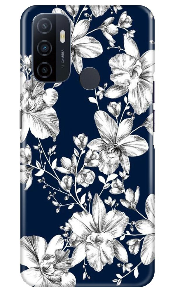 White flowers Blue Background Case for Oppo A53