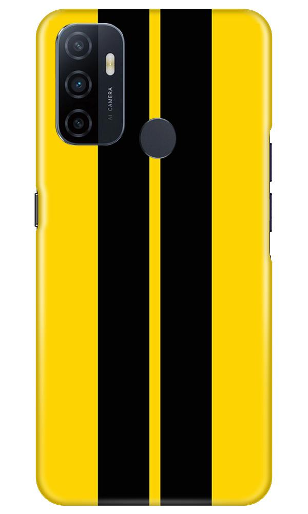 Black Yellow Pattern Mobile Back Case for Oppo A53 (Design - 377)