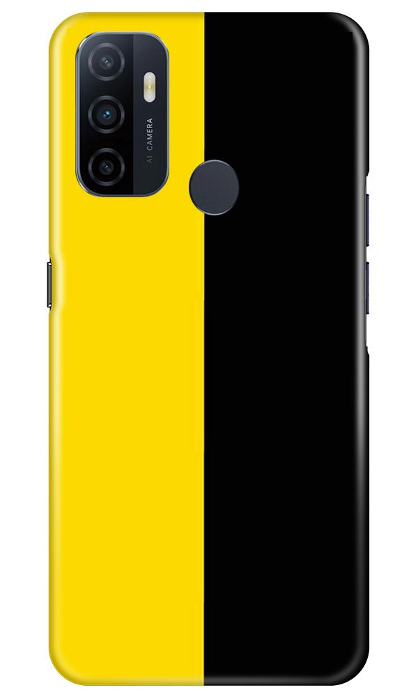 Black Yellow Pattern Mobile Back Case for Oppo A53 (Design - 397)