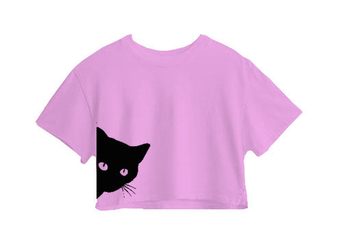 Black Cat Crop Top