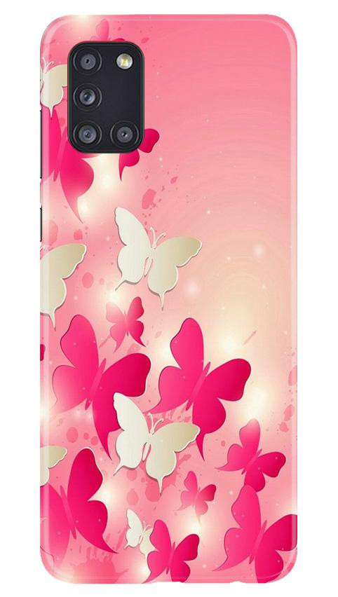 White Pick Butterflies Case for Samsung Galaxy A31