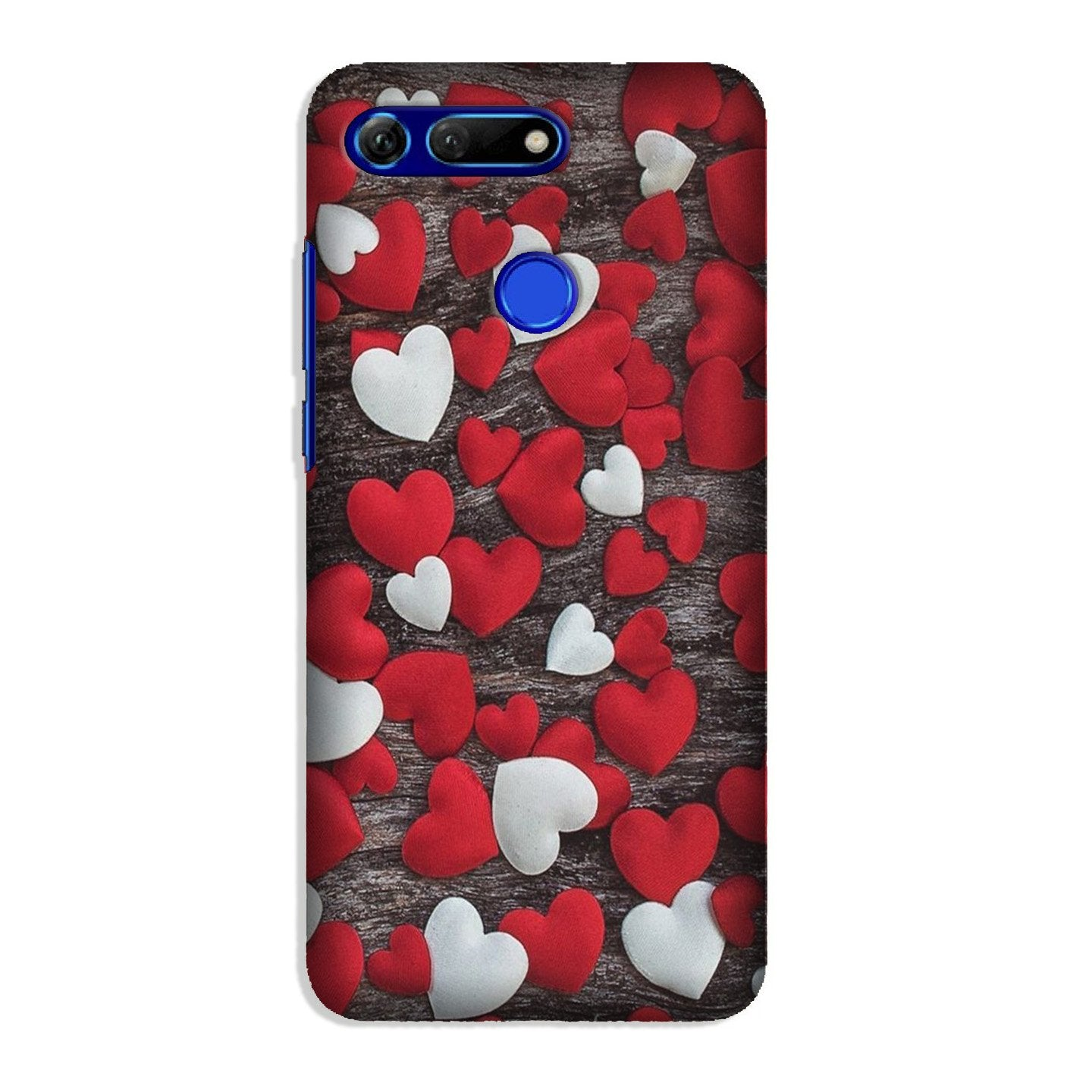 Red White Hearts Case for Honor View 20  (Design - 105)