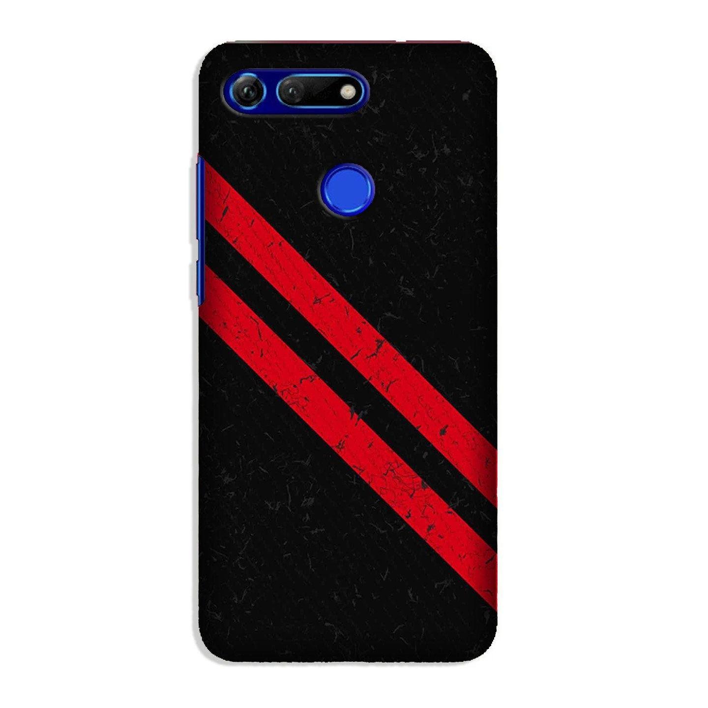 Black Red Pattern Mobile Back Case for Honor View 20 (Design - 373)