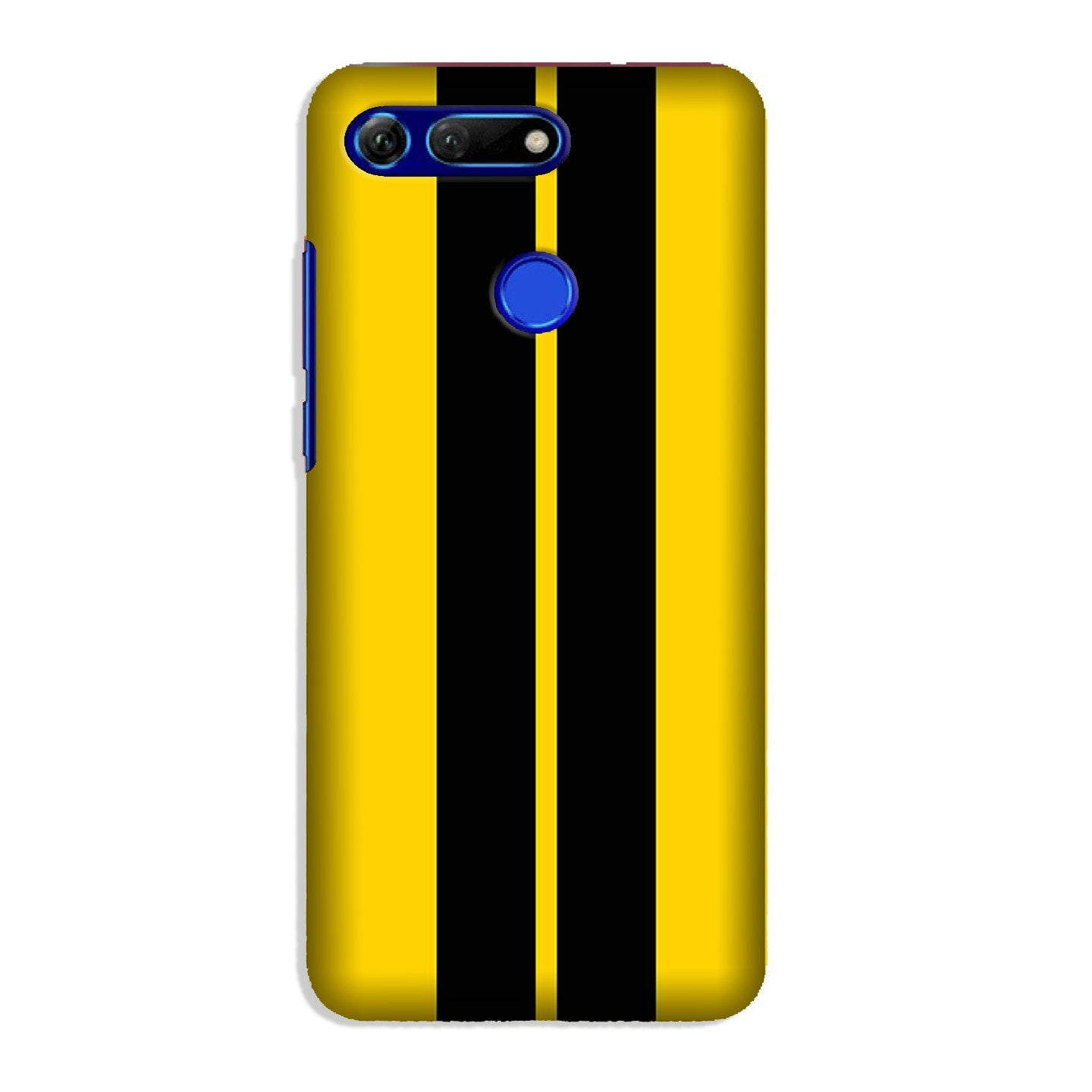 Black Yellow Pattern Mobile Back Case for Honor View 20 (Design - 377)