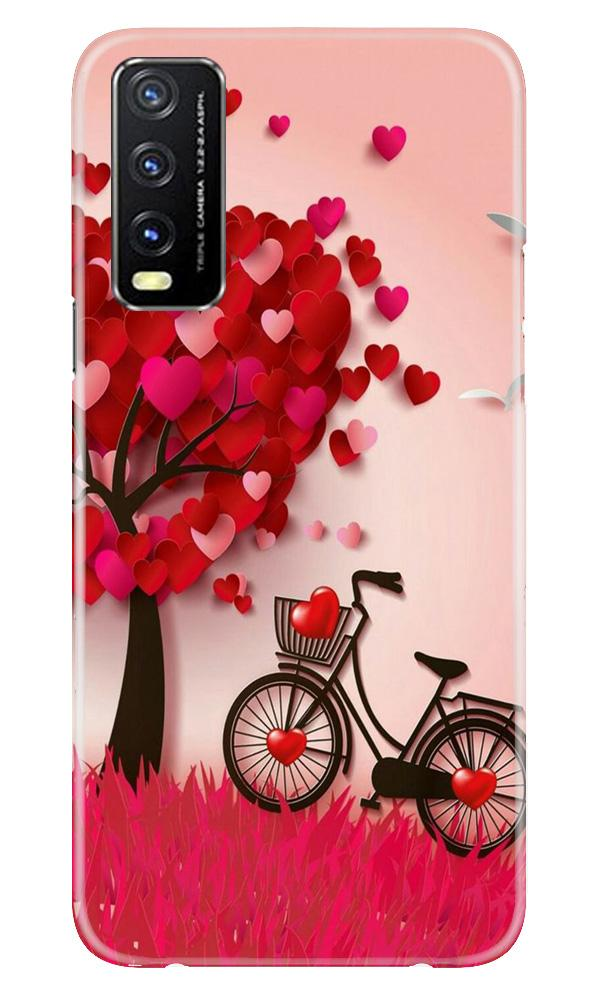 Red Heart Cycle Case for Vivo Y20G (Design No. 222)