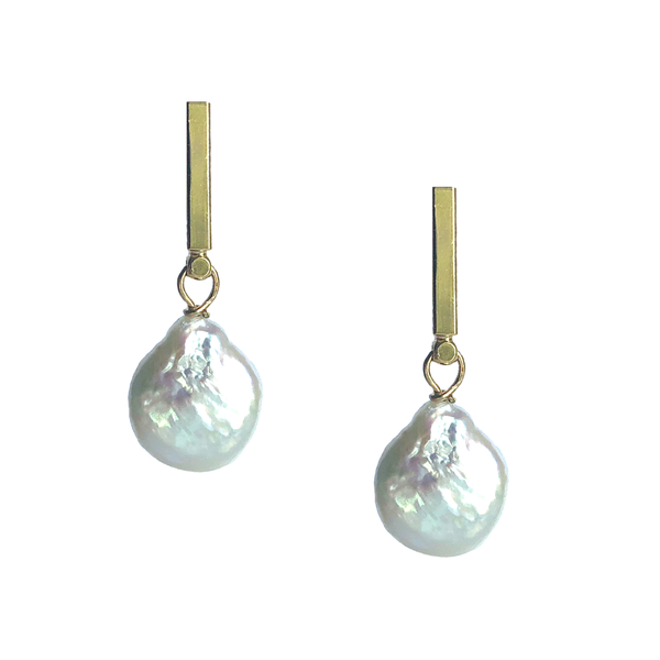 Natural Pearl Bar Earrings