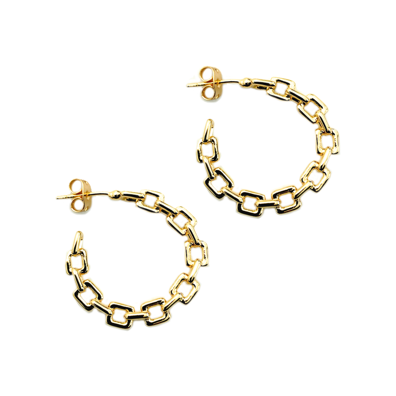 Box Chain Hoops
