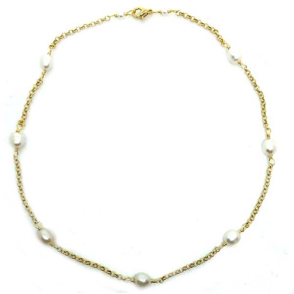Natural Lined Pearl Choker