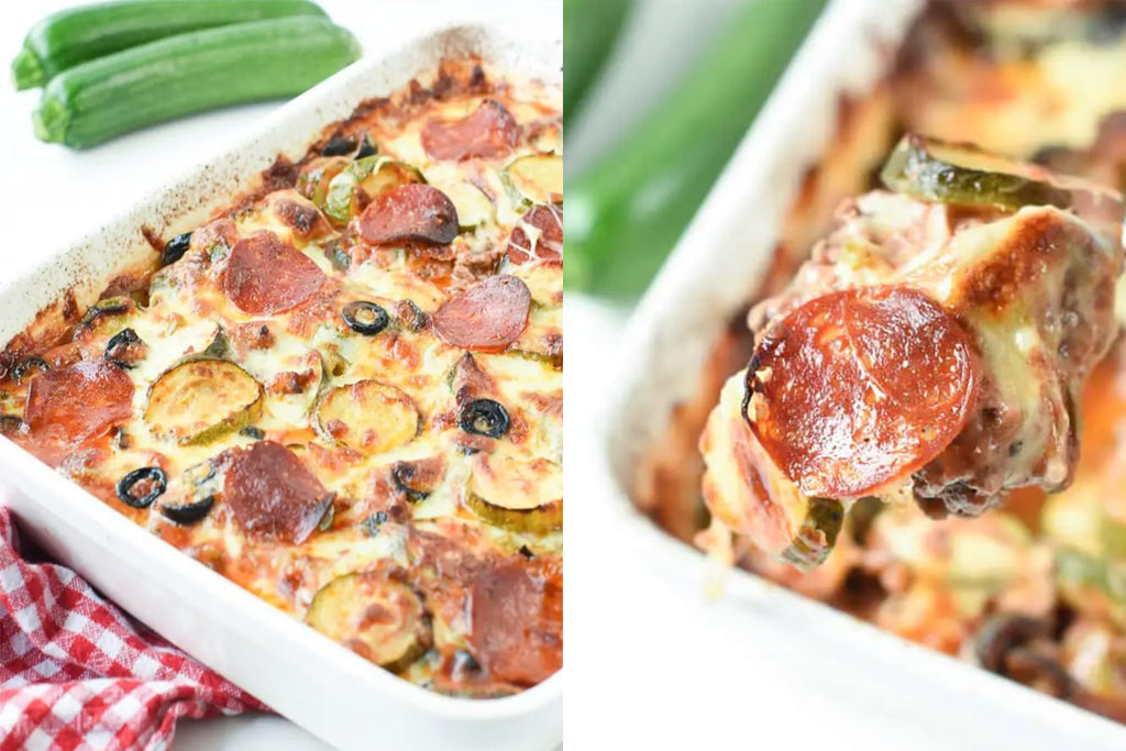 Keto Pizza Casserole with Pepperoni & Zucchini