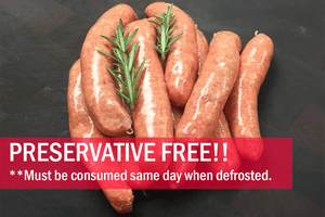 Beef Sausages (PRESERVATIVE FREE, GF, Free Range) 5pcs - 550g **PRE-ORDER REQUIRES 1 BUSINESS DAYS NOTICE**