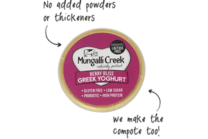 Berry Bliss Greek Yoghurt 375g (Probiotic) Mungalli Creek Biodynamic Farm **REQUIRES 1 BUSINESS DAYS NOTICE**