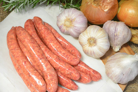 Country Beef & Vegetable Sausage (PRESERVATIVE-FREE, Free Range, GF) 5pcs - 550g **PRE-ORDER REQUIRES 1 BUSINESS DAYS NOTICE**