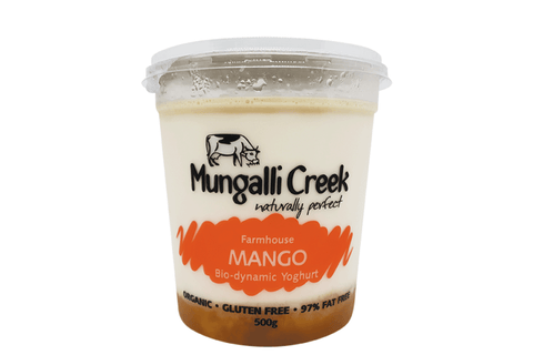 Mango Yoghurt 500g (Probiotic) Mungalli Creek Biodynamic Farm **REQUIRES 1 BUSINESS DAYS NOTICE**