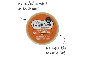 Mango Tango Greek Yoghurt 375g (Probiotic) Mungalli Creek Biodynamic Farm **REQUIRES 1 BUSINESS DAYS NOTICE**