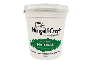 Natural Yoghurt 500g (Probiotic) Mungalli Creek Biodynamic Farm **REQUIRES 1 BUSINESS DAYS NOTICE**
