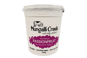 Passionfruit Yoghurt 500g (Probiotic) Mungalli Creek Biodynamic Farm **REQUIRES 1 BUSINESS DAYS NOTICE**
