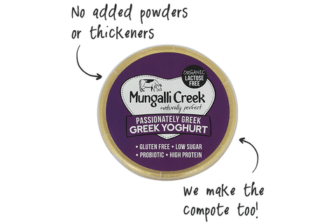 Passionately Greek Yoghurt 375g (Probiotic) Mungalli Creek Biodynamic Farm **REQUIRES 1 BUSINESS DAYS NOTICE**