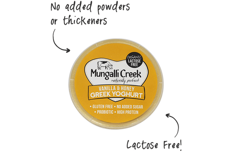 Vanilla & Honey Greek Yoghurt 375g (Probiotic) Mungalli Creek Biodynamic Farm **REQUIRES 1 BUSINESS DAYS NOTICE**