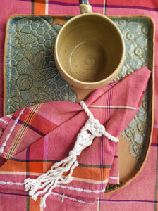 Hablon Napkin and Placemat Set in Old Rose