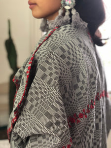 Grey Binakol Poncho with  Red Accents