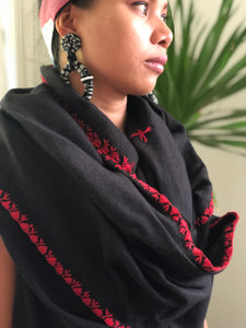 Handwoven Abra Black Poncho with Red Stitch