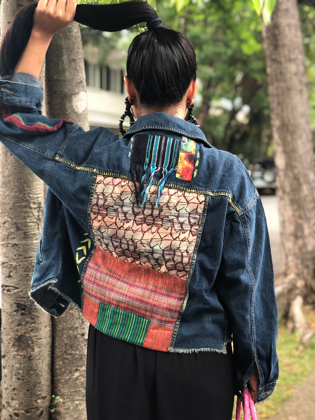 Hand Painted Denim Jacket with Woven Back Patches