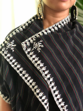 Pinas Sadya Handwoven  Black Stripes Poncho with White Stitch
