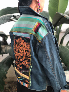 Hand Painted Denim Jacket with Tree Back and Yellow Patch