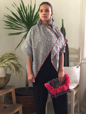 Pinas Sadya Handwoven Poncho Grey In Red Stitches