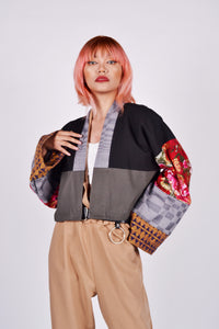 Oday's Ika-lima Crop Kimono in Red Sleeves