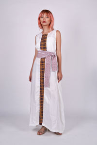 Presko 1: White Maxi Dress with Inaul Accent