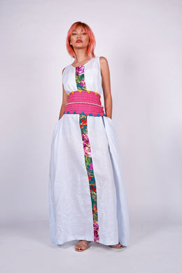 Presko 4: Powder Blue Maxi Dress with Maranao Green Accent