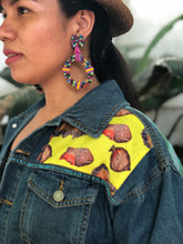 Load image into Gallery viewer, Hand Painted Denim Jacket with Tree Back and Yellow Patch