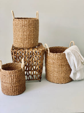 Set of 3 Seagrass Baskets with White Handle