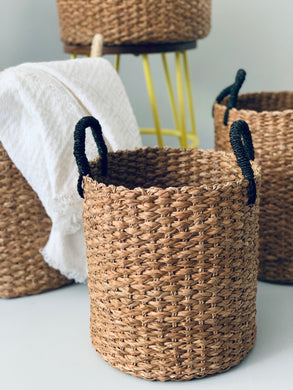 Set of 3 Seagrass Baskets with Black Handle