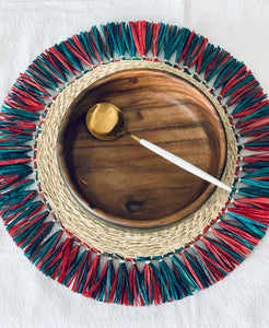 "Raffia Braided Tassel Placemat in Multi Colors 15"" (Set of 4)"