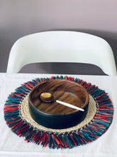 "Load image into Gallery viewer, Raffia Braided Tassel Placemat in Multi Colors 15"" (Set of 4)"