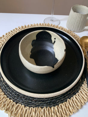 Stoneware Soup Bowl with Black Drip