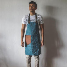 Load image into Gallery viewer, Bennett Waxed Canvas Barista Apron - Pastel Blue