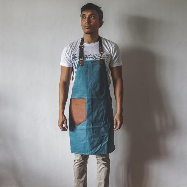 Bennett Waxed Canvas Barista Apron - Pastel Blue