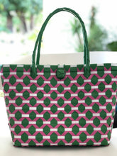 Load image into Gallery viewer, Beehive Woven Bayong Green Pink